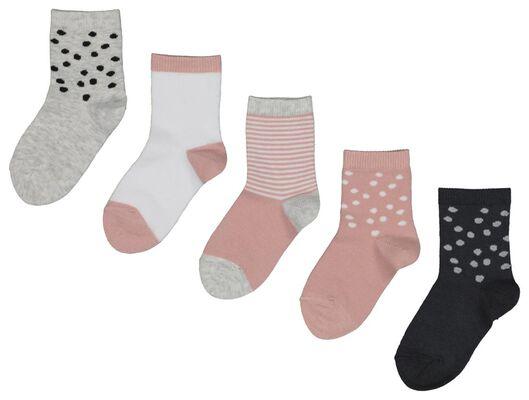 5 paires de chaussettes bébé rose rose - 1000018744 - HEMA