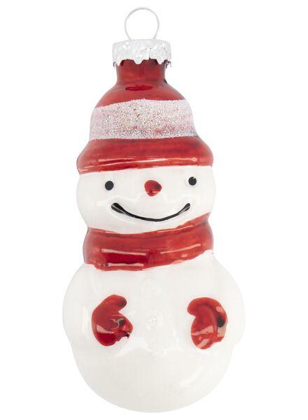 décoration de Noël en verre - bonhomme de neige - 4x4x8.5 - 25100784 - HEMA