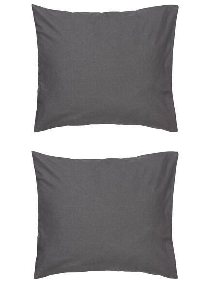taies d'oreiller - coton doux - gris gris foncé 60 x 70 - 5140135 - HEMA