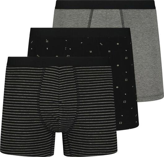 3-pack men's boxer shorts long cotton stretch black black - 1000018782 - hema