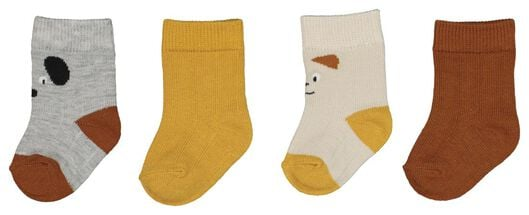 4-pack baby socks with bamboo brown brown - 1000020011 - hema