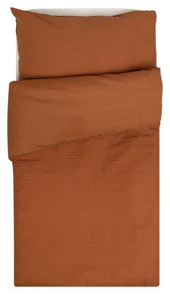 housse de couette et taie d'oreiller lit d'enfant 60x120 seersucker marron - 33336020 - HEMA