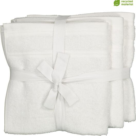 Image of HEMA 4 White Towels - 50 X 100 Cm - Cotton With RPET (white)