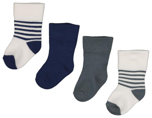 4-pack baby socks with bamboo blue blue - 1000018732 - hema