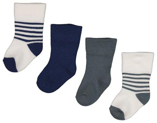 4 paires de chaussettes pour bébé en bambou bleu bleu - 1000018732 - HEMA