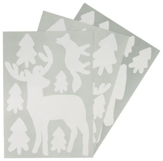 3 Blatt Fenster-Aufkleber 42x29,7, Weihnachtsbäume/Rentiere - 25300050 - HEMA