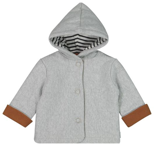 newborn sweatshirt fabric coat with hood grey melange grey melange - 1000020352 - hema
