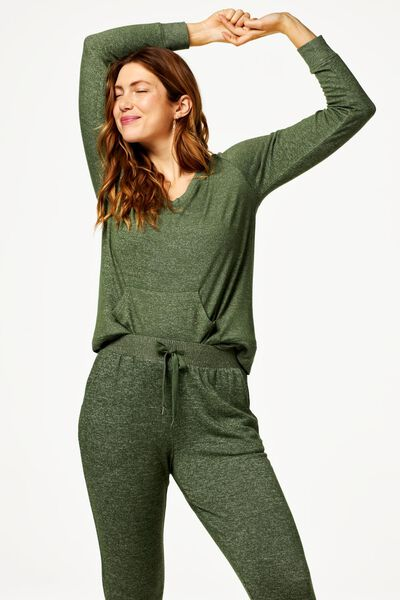 pantalon de pyjama femme sweat vert vert - 1000018753 - HEMA