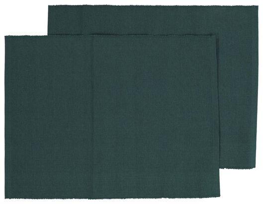 2 sets de table côtelés en coton 32x42 vert - 5300088 - HEMA