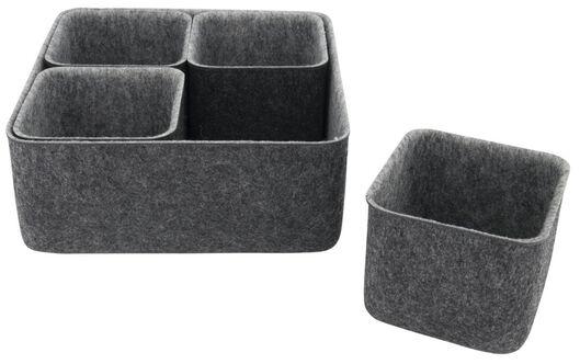 set of 5 storage boxes 25x25x10.5 felt - 39821225 - hema