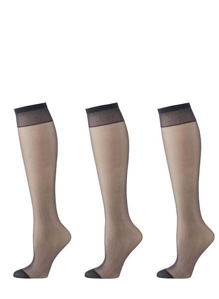 3-pack mat nylon knee-socks 20 denier dark blue one size - 4022556 - hema