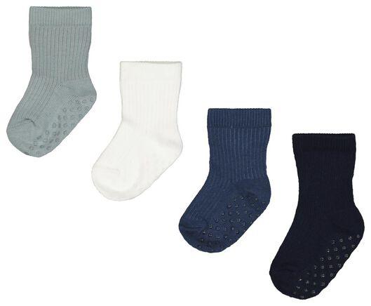 Babyaccessoires - HEMA 4er Pack Baby Socken, Gerippt Blau - Onlineshop HEMA