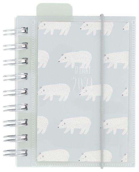 agenda à spirale 2021 avec couverture avec pochette perforée pour photo - multilingue - 12.5x10 - ours polaire - 14622207 - HEMA
