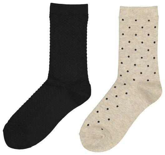 2-pack women's socks with bamboo black 39/42 - 4240102 - hema