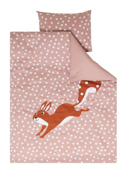 toddler's duvet cover soft cotton 120x150 squirrel pink - 5730053 - hema