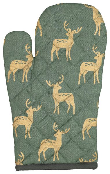 oven glove cotton - green with gold deer - 5410107 - hema