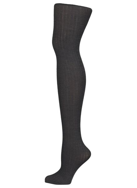 fashion wool mix tights with ribbed motif dark grey dark grey - 1000016526 - hema