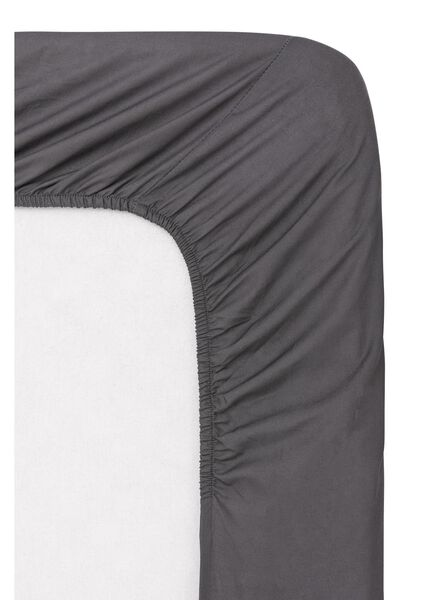 drap-housse - coton doux - 90x220 cm - gris foncé gris foncé 90 x 220 - 5140083 - HEMA
