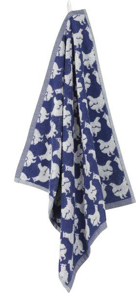 keukendoek 50x50 kippen - wit/blauw - 5400103 - HEMA