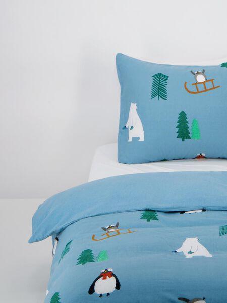kinderdekbedovertrek flanel - winter - blauw blauw - 1000021834 - HEMA