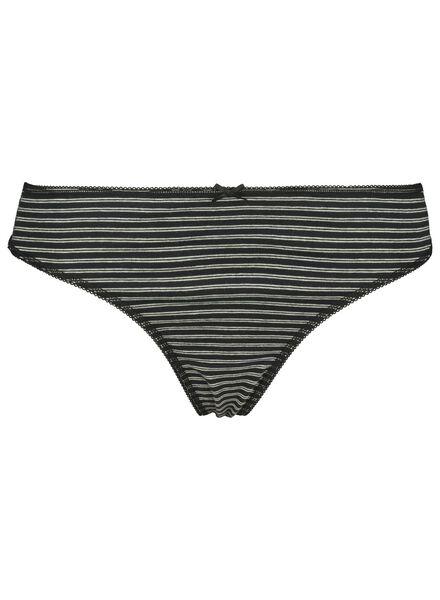 3-pack women's thongs cotton black/white black/white - 1000014502 - hema
