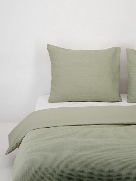 housse de couette coton gaufrage vert vert - 1000021850 - HEMA