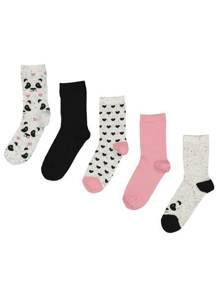 5-pack women's socks grey melange grey melange - 1000015577 - hema
