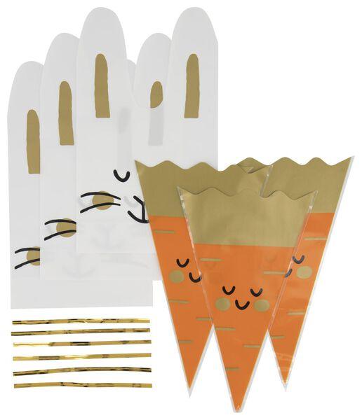 6 small gift bags bunny/carrot - 25810130 - hema