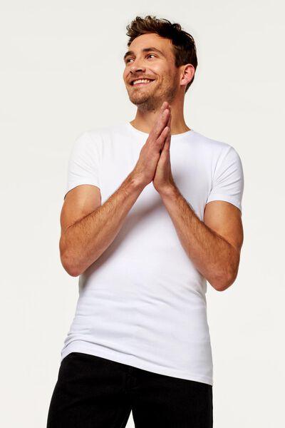 t-shirt homme - extra long - avec bambou blanc blanc - 1000016218 - HEMA