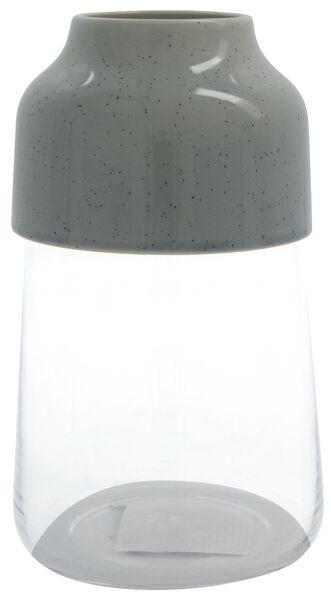 HEMA Vaas Ø14x17.1 Glas-aardewerk Grijs