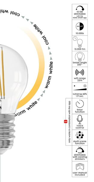 Smart-LED-Lampe, Kugel, E27, 4.5W, 450 lm, klar - 20000027 - HEMA