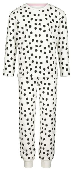 Kinder-Pyjama, Velours, Dalmatinerflecken eierschalenfarben 122/128 - 23040403 - HEMA