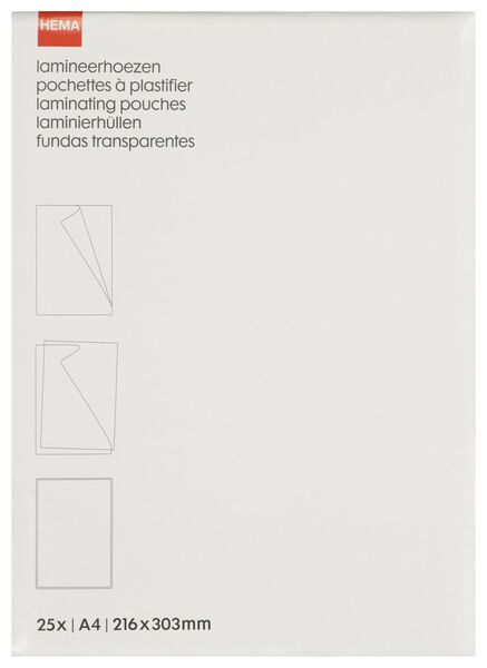 25er-Pack Laminierfolien, 80 Mikron, 21.6 x 30.3 cm - 38370010 - HEMA