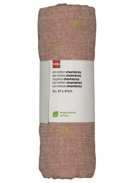 2 serviettes 47x47 chambray earth/gold - 5300062 - hema