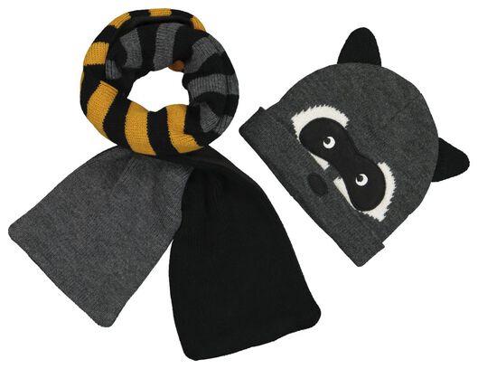 Kinder-Mütze mit Schal, Waschbär - 16734750 - HEMA