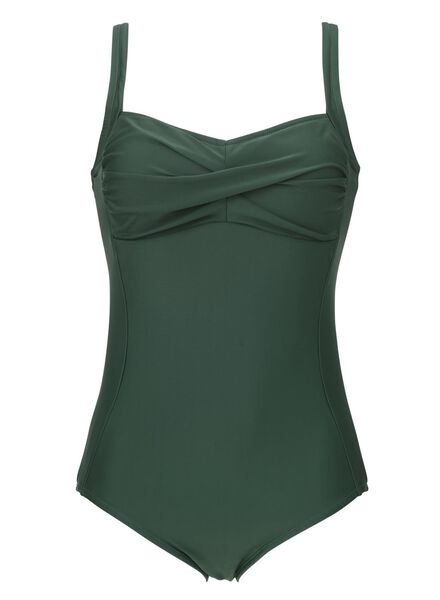 Bademode - HEMA Figurformender Damen Badeanzug Grün  - Onlineshop HEMA