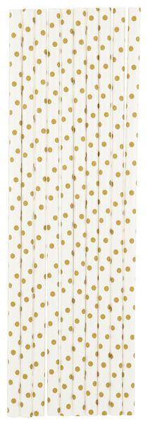 20 pailles en papier 20 cm - pois doré - 14280213 - HEMA