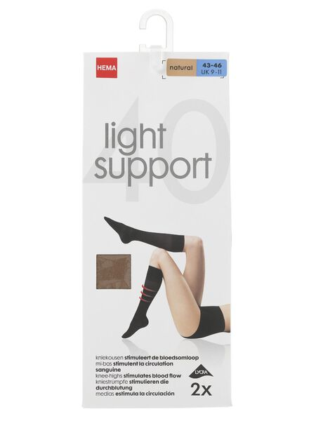 2-pack 40 denier knee-high socks light control natural natural - 1000000880 - hema