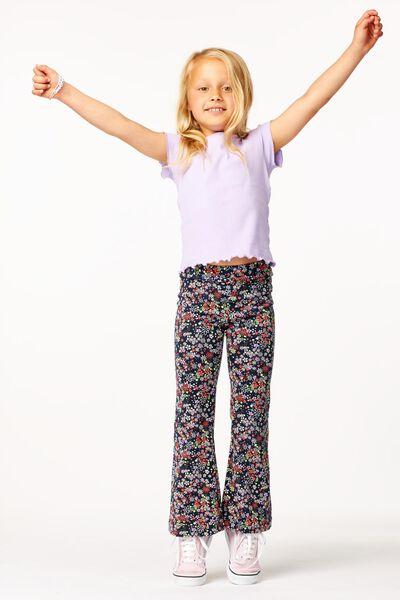 Kinder-Leggings, Schlaghosenschnitt, Blumen dunkelblau 146/152 - 30877427 - HEMA