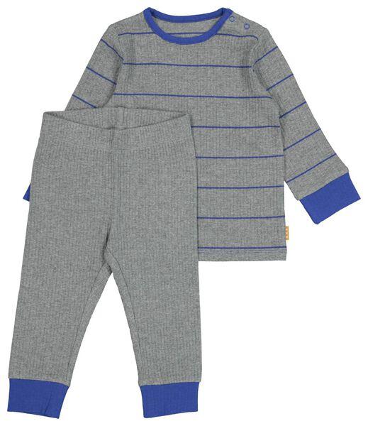 HEMA Baby-Pyjama Mit Bambus, Gerippt, Stretch Graumeliert