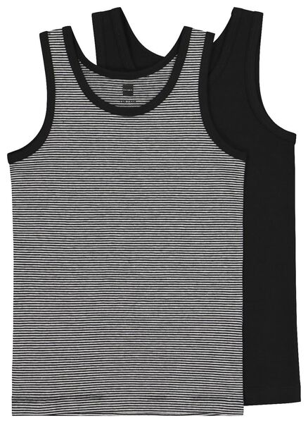 2-pack children's vests black black - 1000020449 - hema