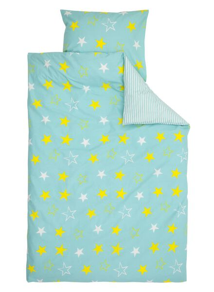 housse de couette enfant-coton doux-140x200cm-bleu étoile - 5791168 - HEMA