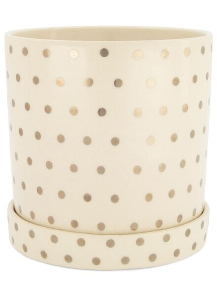 flower pot Ø 17 cm - ceramic - white/gold-coloured - 13392086 - hema